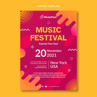 Gradiënt halftoon muziekfestival poster
