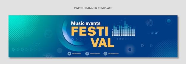 Gradiënt halftoon muziekfestival twitch banner