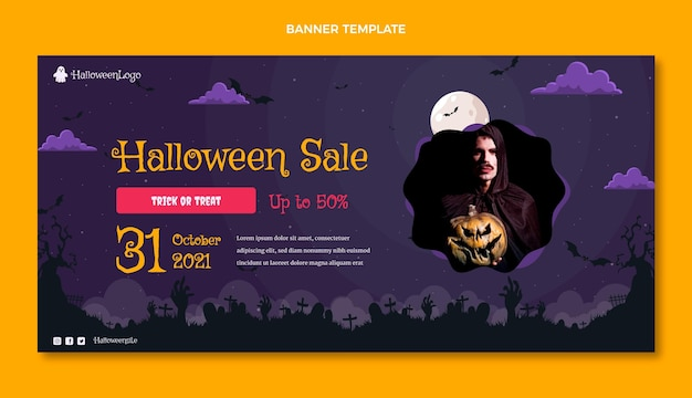 Gradiënt halloween horizontale verkoopbanner