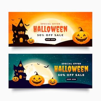 Gradiënt halloween verkoop horizontale banners set