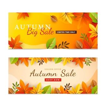 Gradiënt herfst verkoop banners set
