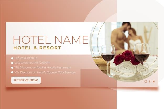 Gradient hotel banner met foto