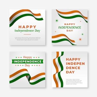 Gradient india onafhankelijkheidsdag instagram posts collectie