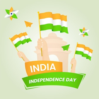 Gradiënt indiase onafhankelijkheidsdag illustratie