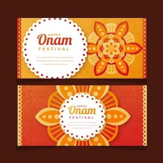 Gradiënt indiase onam banners set