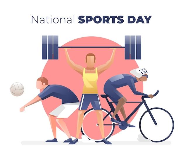 Gradiënt indonesische nationale sportdag illustratie