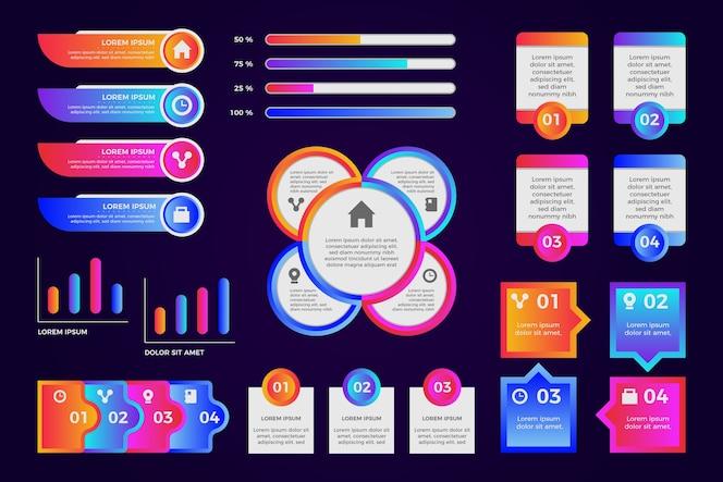 Gradient infographic element collectie sjabloon