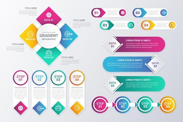 Gradient infographic element collectie