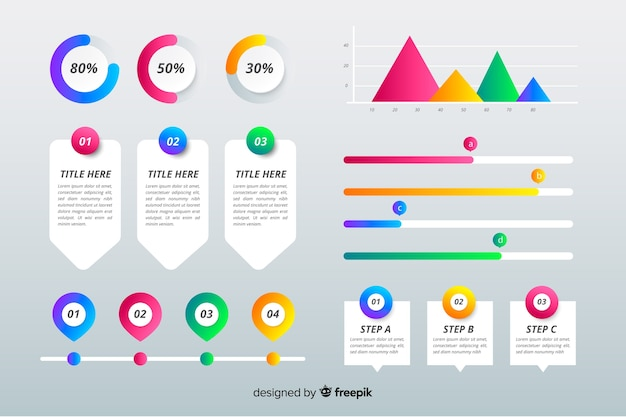 Gradient infographic element set