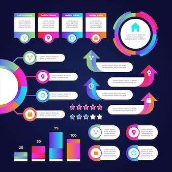 Gradiënt infographic element sjabloon collectie