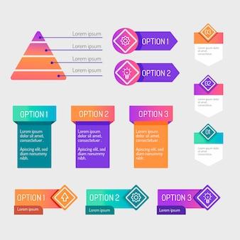 Gradient infographic elementen collectie