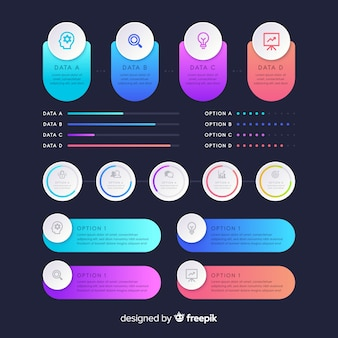 Gradiënt infographic elementen pack