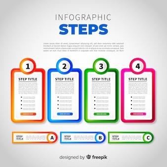 Gradiënt infographic met stappen