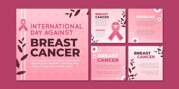 Gradiënt internationale dag tegen borstkanker instagram posts collectie