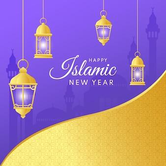 Gradiënt islamitische nieuwjaarsillustratie
