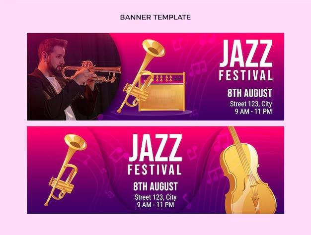 Gradiënt kleurrijke muziekfestival horizontale banners