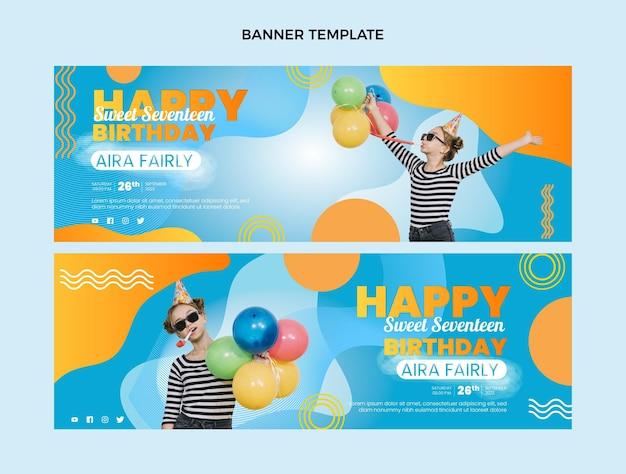 Gradiënt kleurrijke verjaardag horizontale banners