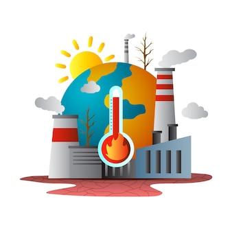 Gradiënt klimaatverandering concept
