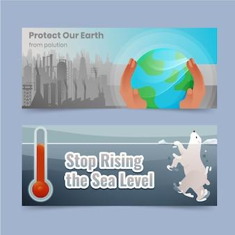Gradiënt klimaatverandering horizontale banners set