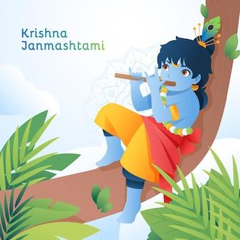 Gradiënt krishna janmashtami illustratie