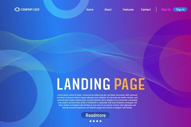 Gradient landing page achtergrond website sjabloon voor websites of apps abstracte vectorstijl