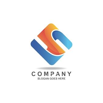 Gradiënt letter s abstract in vierkante vorm logo