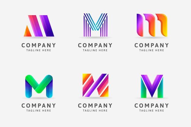 Gradient m logo sjabloonverzameling