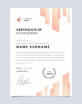 Gradiënt modern certificaat van prestatie