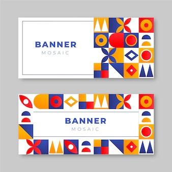 Gradiënt mozaïek horizontale banners set