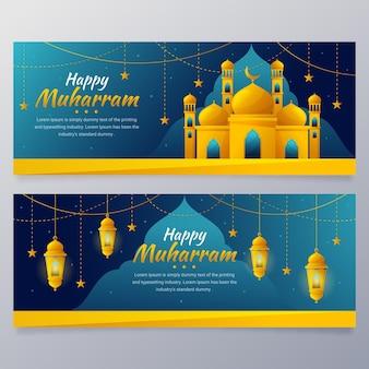Gradiënt muharram banners set