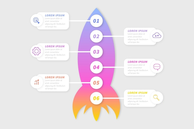 Gradiënt opstarten infographic sjabloon