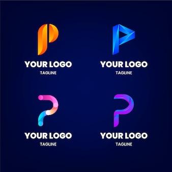 Gradient p logo sjabloonverzameling