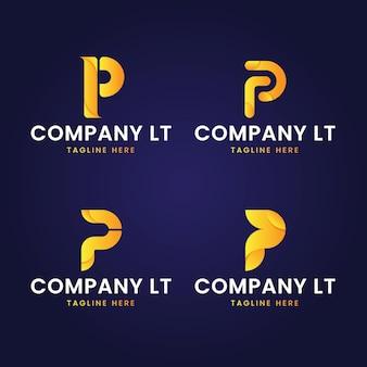 Gradient p logo templates-collectie