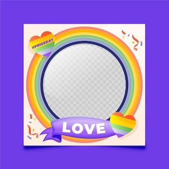 Gradient pride day social media frame-sjabloon Gratis Vector