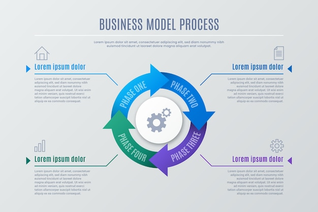 Gradiënt proces infographic concept
