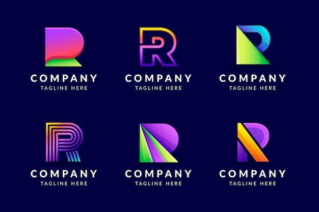 Gradient r logo sjabloonverzameling