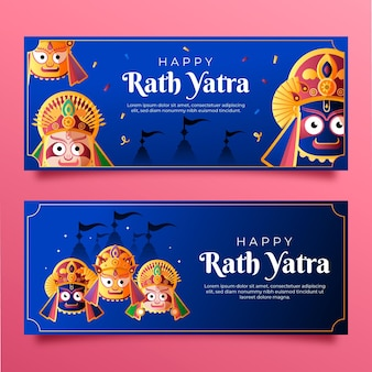 Gradient rath yatra viering banners instellen