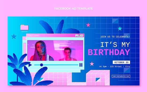 Gradiënt retro vaporwave verjaardag facebook-advertentie