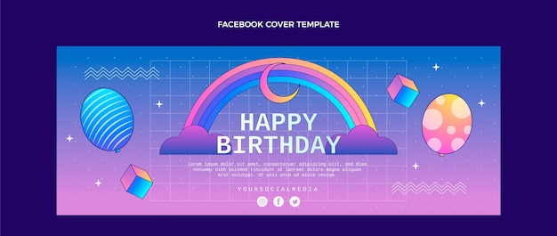 Gradiënt retro vaporwave verjaardag facebook cover