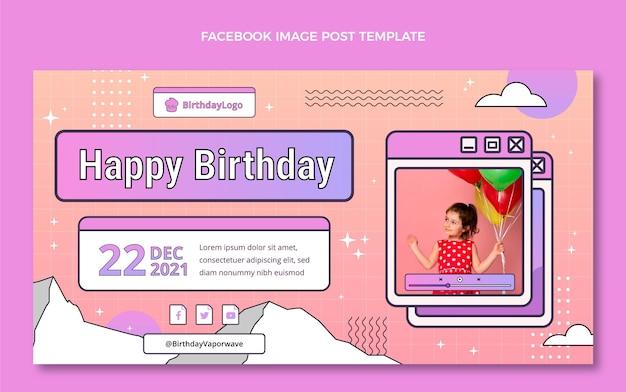 Gradiënt retro vaporwave verjaardag facebook