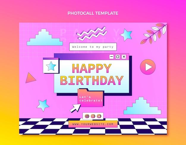 Gradiënt retro vaporwave verjaardag photocall