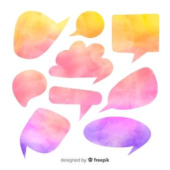 Gradiënt roze en blauwe tekstballonnen