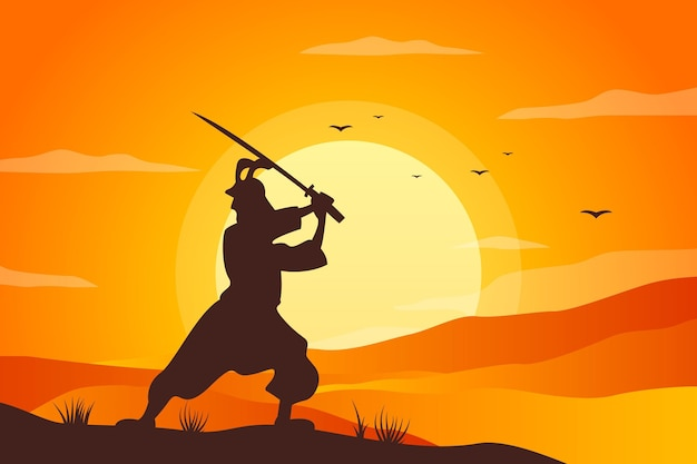Gradiënt samoerai silhouet achtergrond
