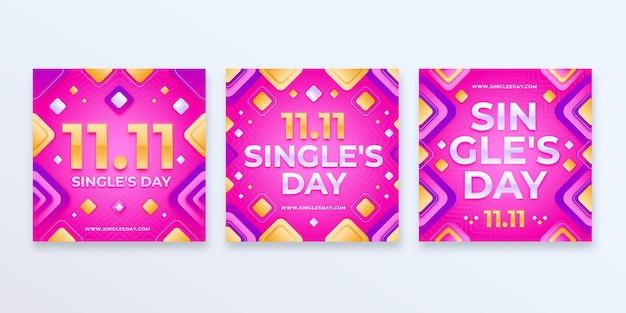 Gradient single's day instagram posts collectie