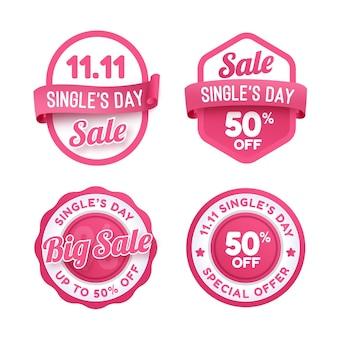 Gradient single's day sale labels collectie