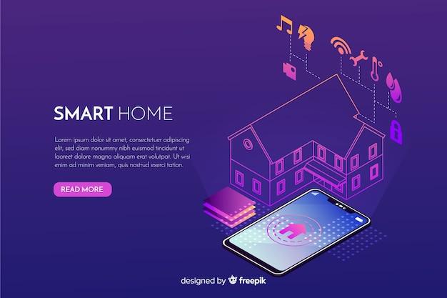Gradient smart home isometrische achtergrond