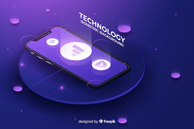 Gradient smartphone isometrische technische achtergrond
