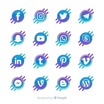 Gradiënt sociale media logo collectie