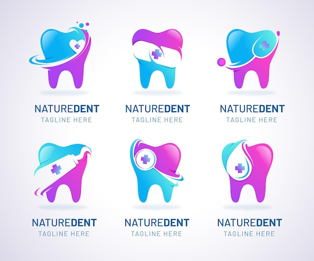 Gradient tandheelkundige logo-collectie