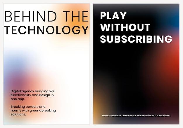 Gradiënt tech marketing sjabloon vector poster dubbele set